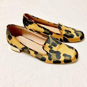 Topshop Velvet Leopard Print Loafers